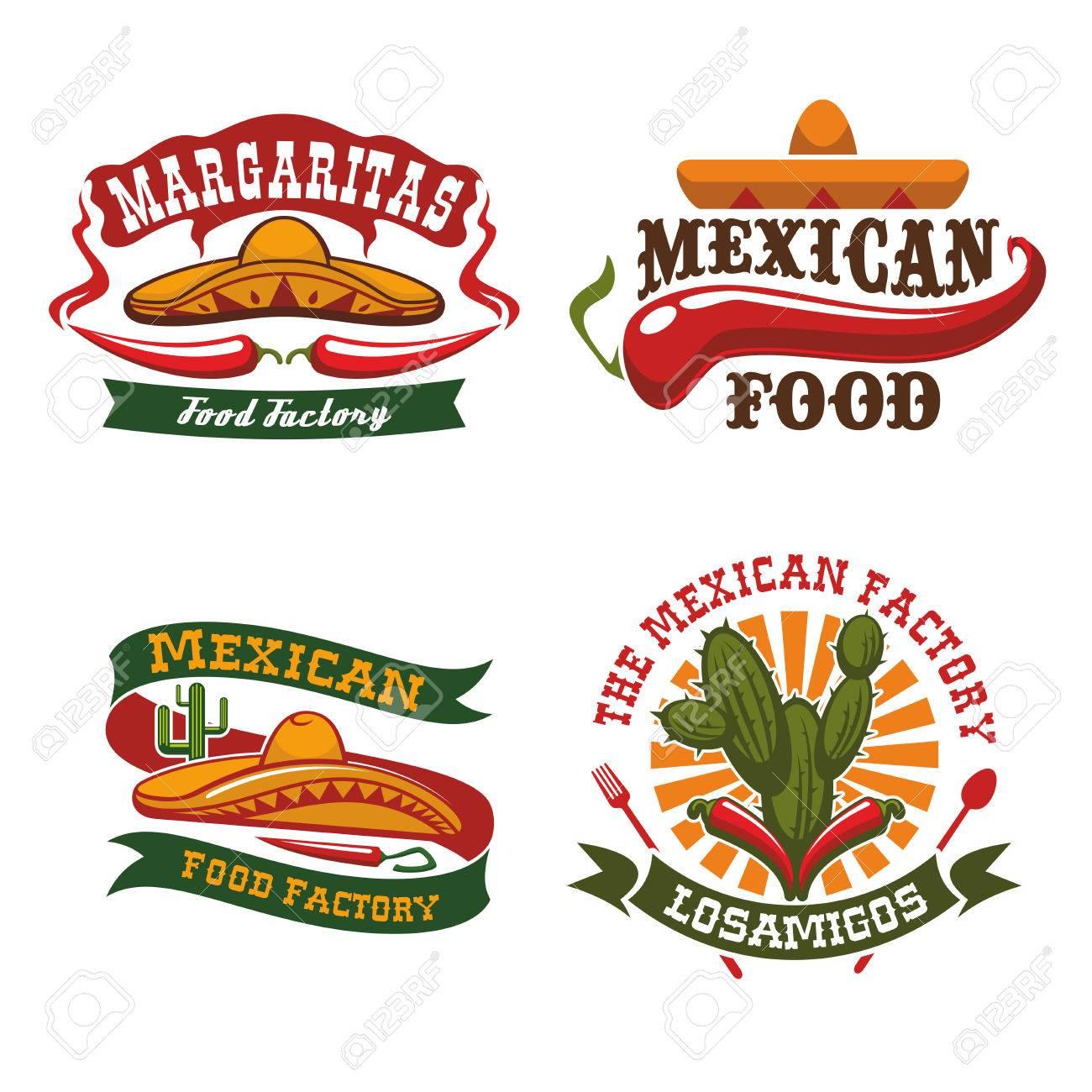 Mexikanische Küche Ikonen Des Sombrerohut, Chili-Pfeffer Jalapeno ...