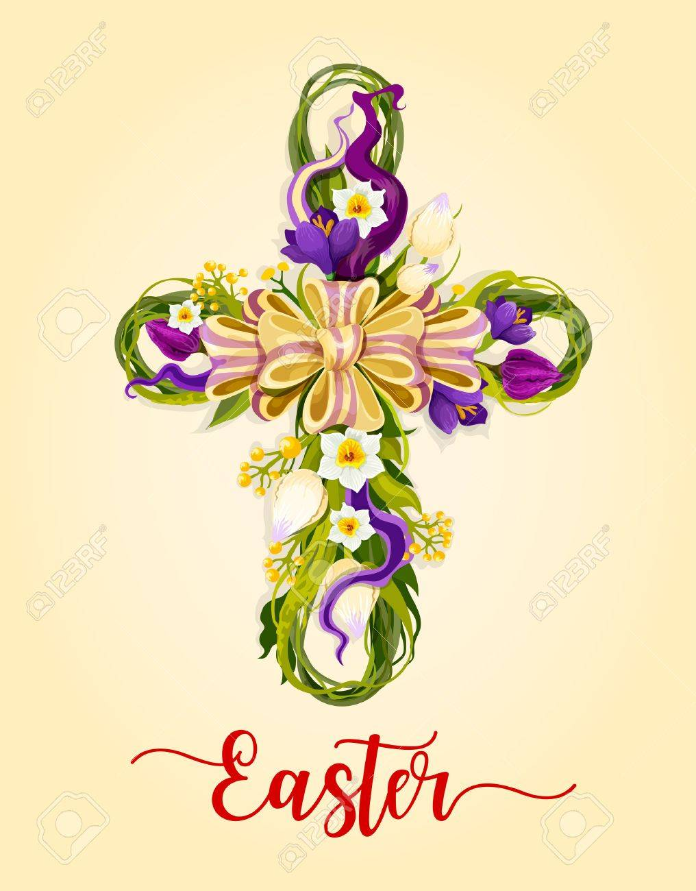 Easter Cross With Spring Flowers Greeting Card Flowers Of Tulip