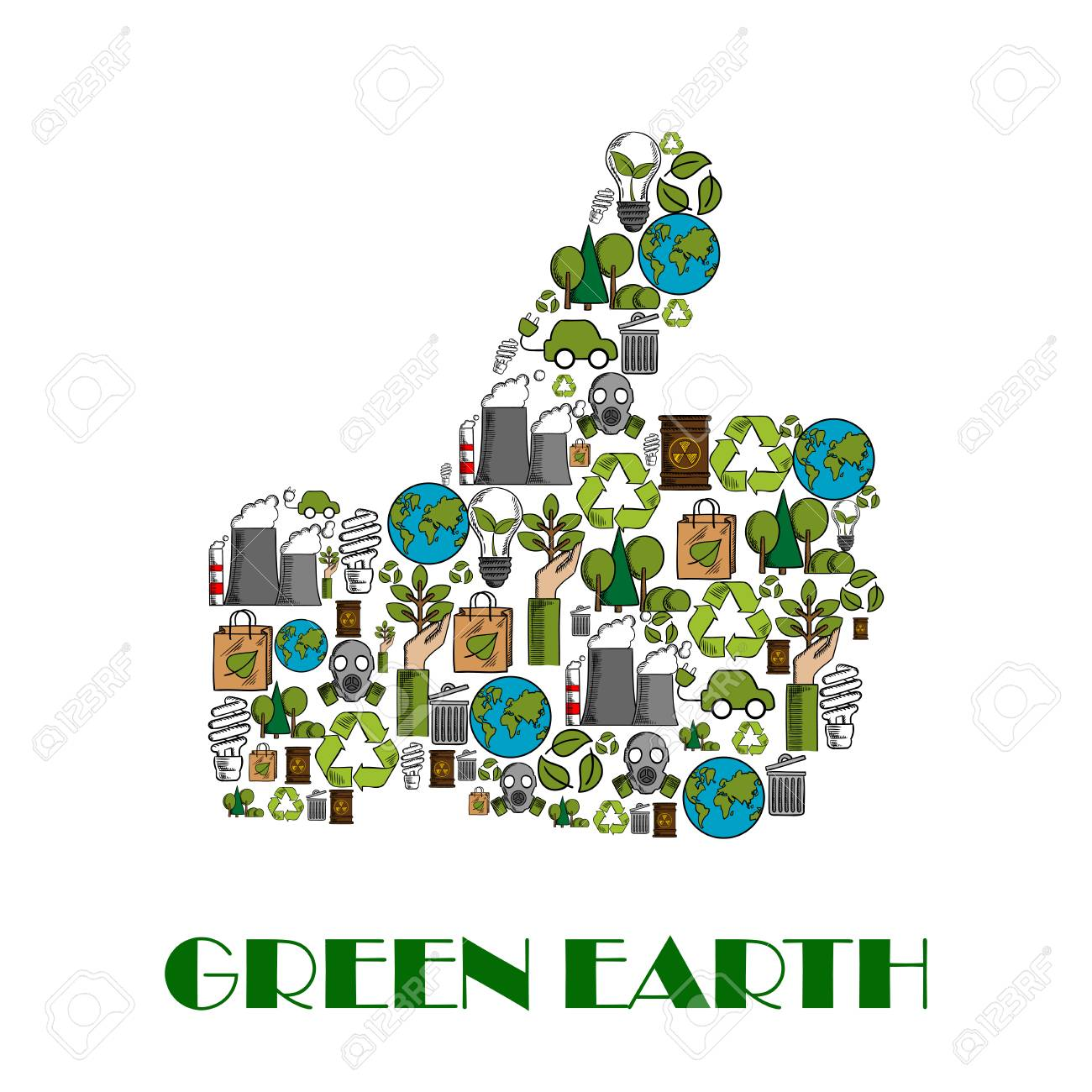 Green Earth Nature Ecology Concept Poster. Thumbs Up Vector Symbol For  Environment Protection Designed Of