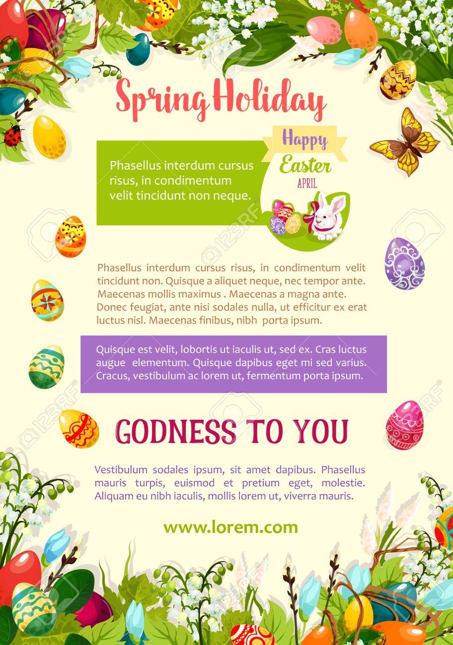 easter spring holidays celebration poster template easter egg