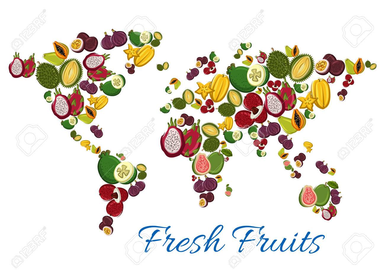 Exotic fruits world map poster with vector juicy tropical papaya exotic fruits world map poster with vector juicy tropical papaya and guava maracuya and gumiabroncs Images
