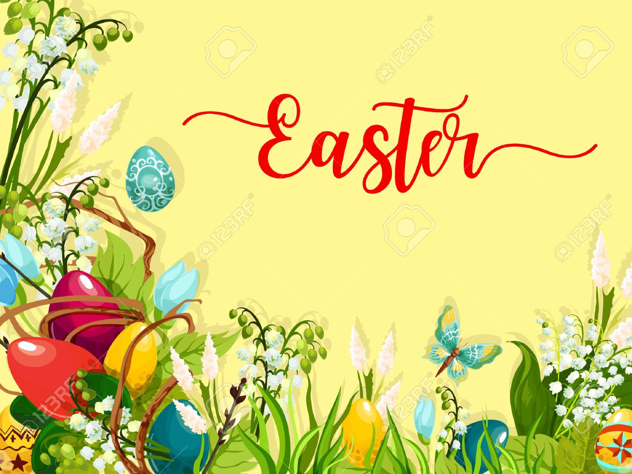 Easter Egg On Green Grass Cartoon Greeting Card Colored Easter