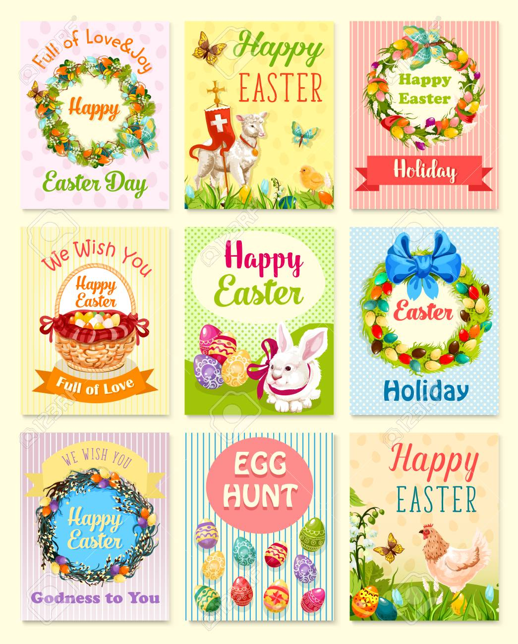 Easter Greeting Card Set Easter Egg Rabbit Bunny Chicken With