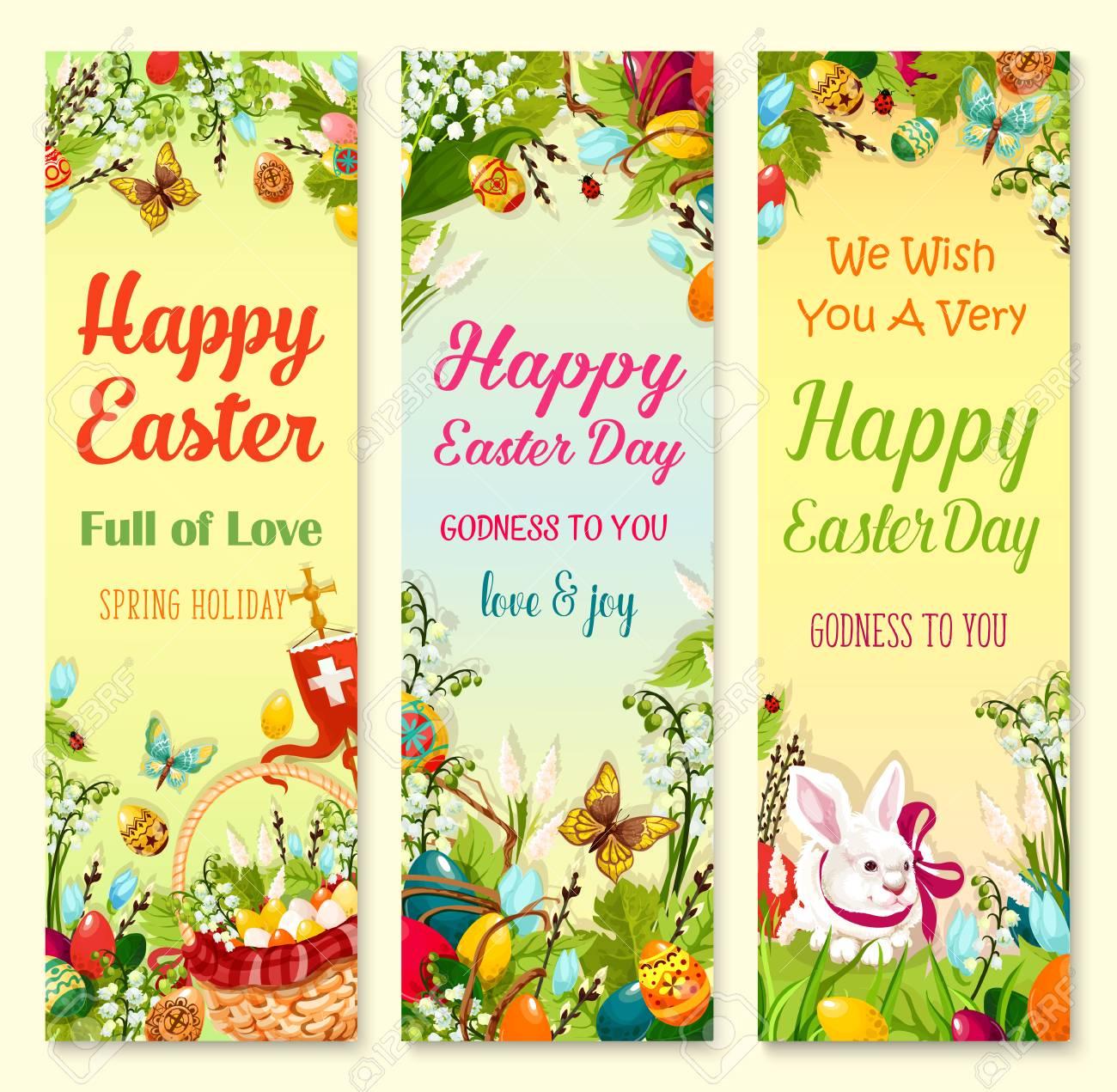 Easter Day Greetings Banner Set Easter Eggs Rabbit Bunny Egg