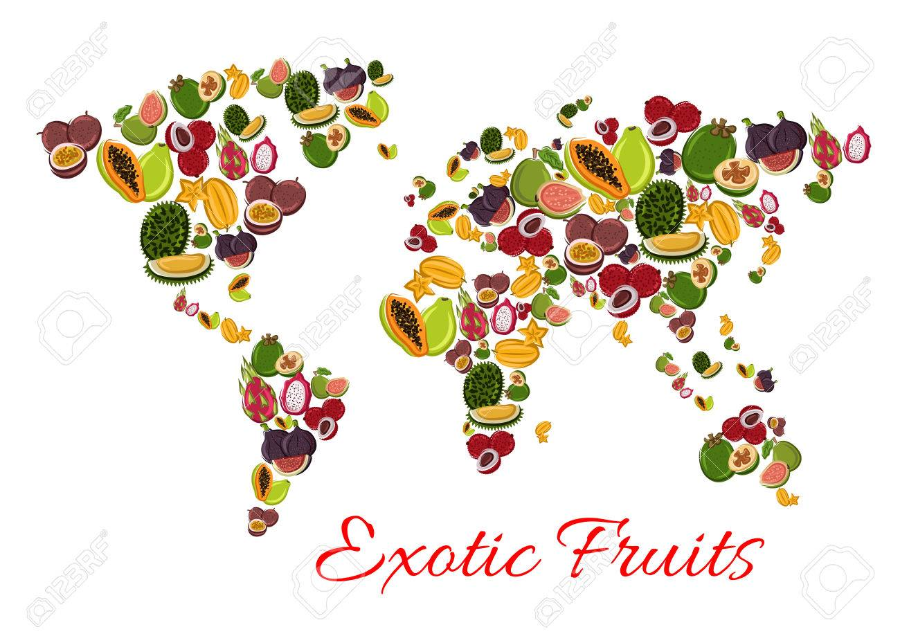 Exotic fruit world map poster with papaya passion fruit feijoa exotic fruit world map poster with papaya passion fruit feijoa dragon fruit gumiabroncs Gallery