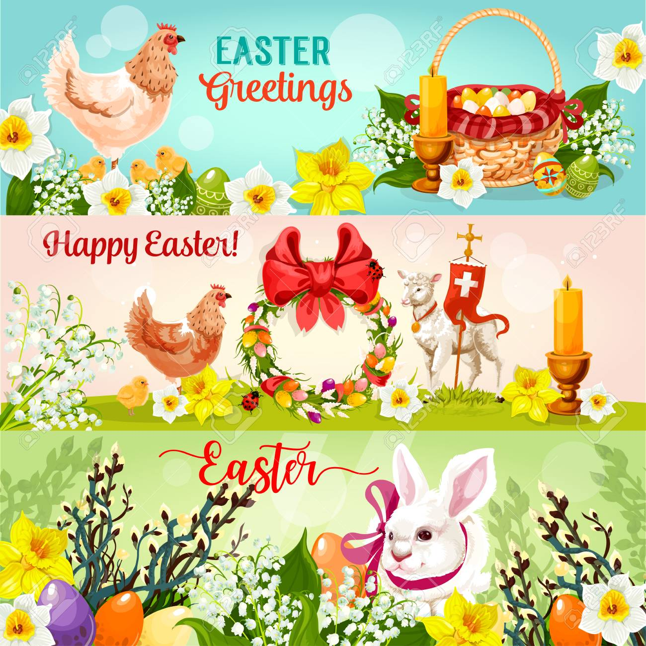 Happy Easter Greetings Banner Set Easter Rabbit Bunny With Egg