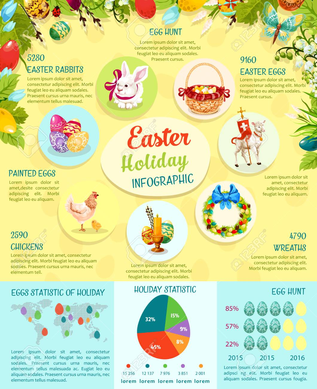 Easter infographic template design easter egg statistics chart easter infographic template design easter egg statistics chart graph and world map cartoon ccuart Images