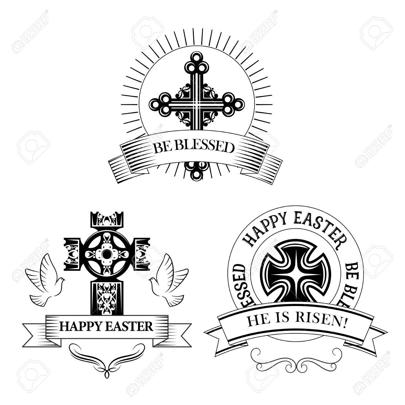Easter symbols of cross and paschal text he is risen be blessed easter symbols of cross and paschal text he is risen be blessed for resurrection sunday biocorpaavc