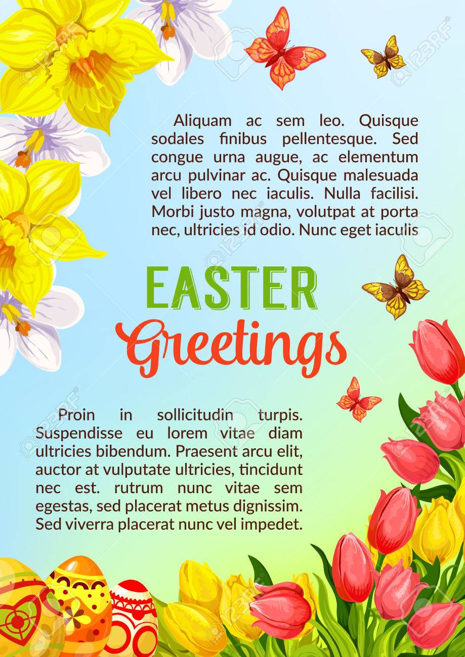 Easter Greetings Poster Or Card Template With Paschal Painted