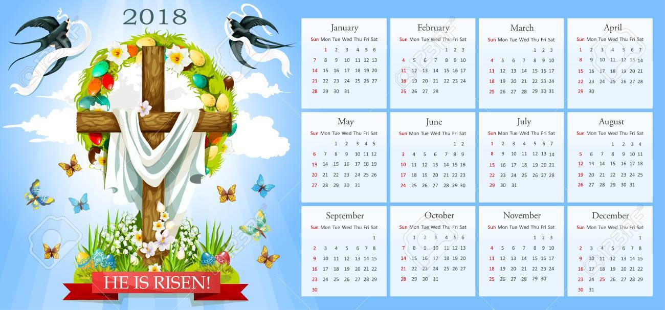 easter template for 2018 calendar he is risen poster of crucifix cross and christ shroud