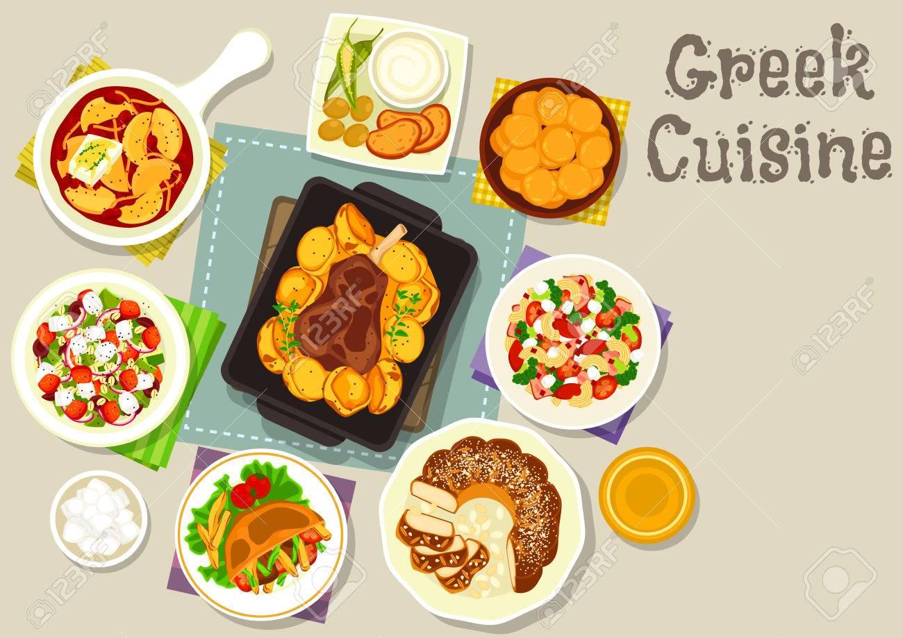 Griechische Küche Ikone Von Fladenbrot Gefüllt Mit Huhn, Käse Und ...