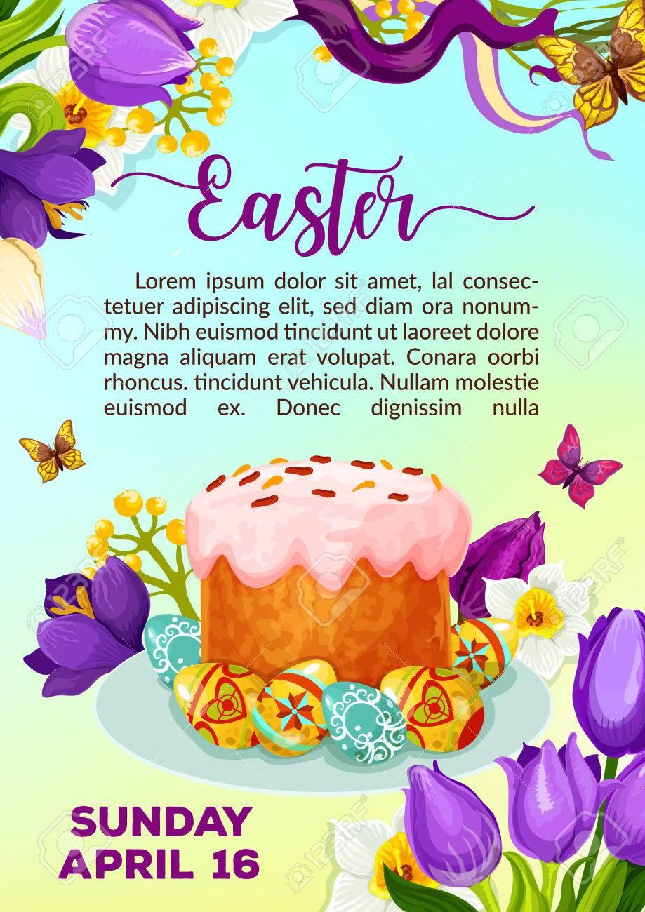 Cartaz Da Páscoa Do Paschal Bolo Ou Kulich Paska E Ovos Vector Ressurreição Domingo Convite Ou Modelo De Cartão De Saudação Símbolos Da Primavera