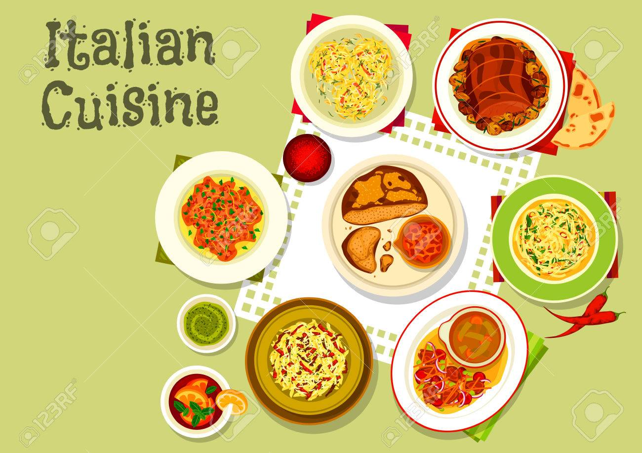 Icone De Cuisine Italienne De Pates Avec Sauce Salami Et Pesto Nids