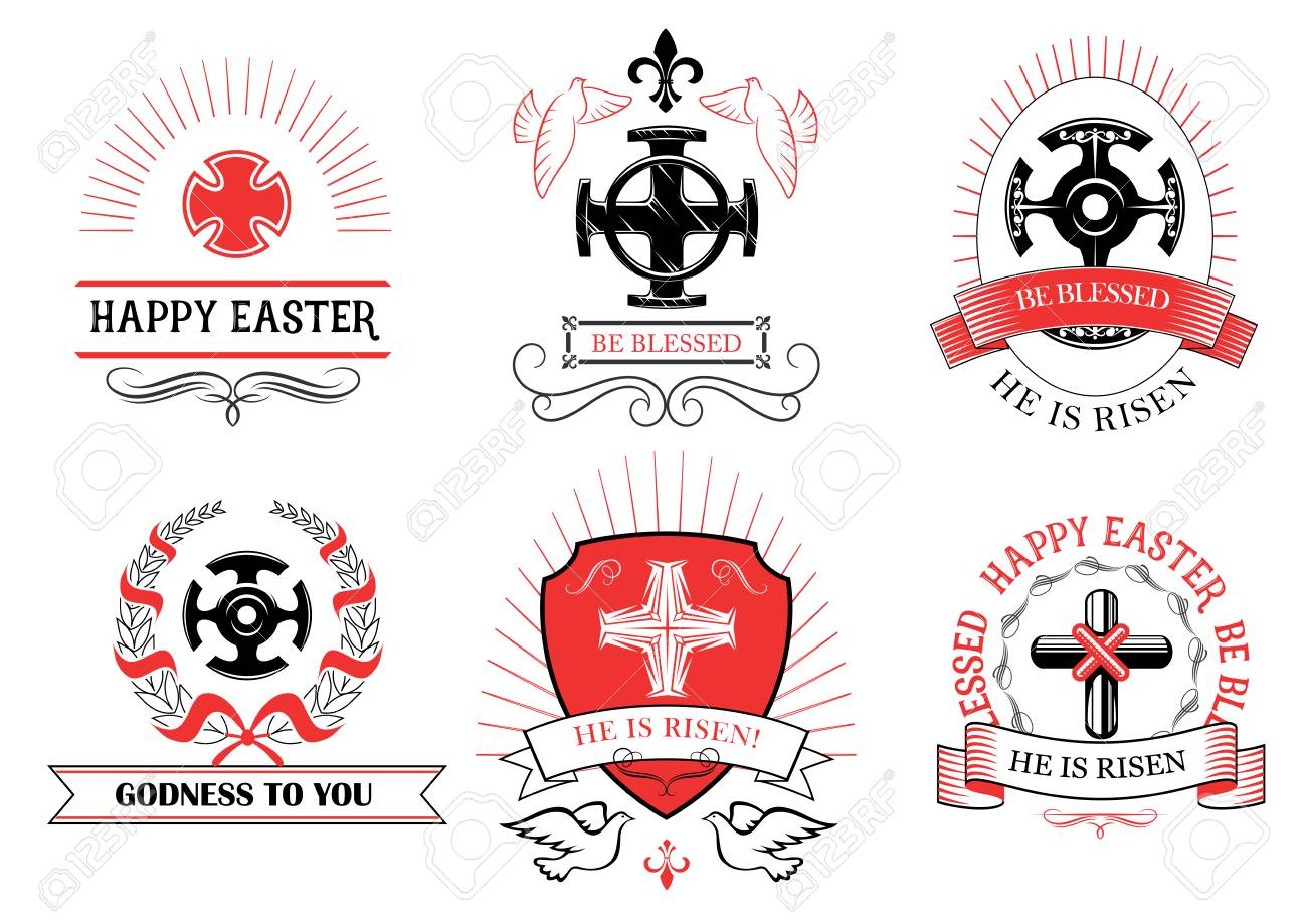 Easter greeting and crucifix cross with paschal text he is risen easter greeting and crucifix cross with paschal text he is risen be blessed and happy biocorpaavc