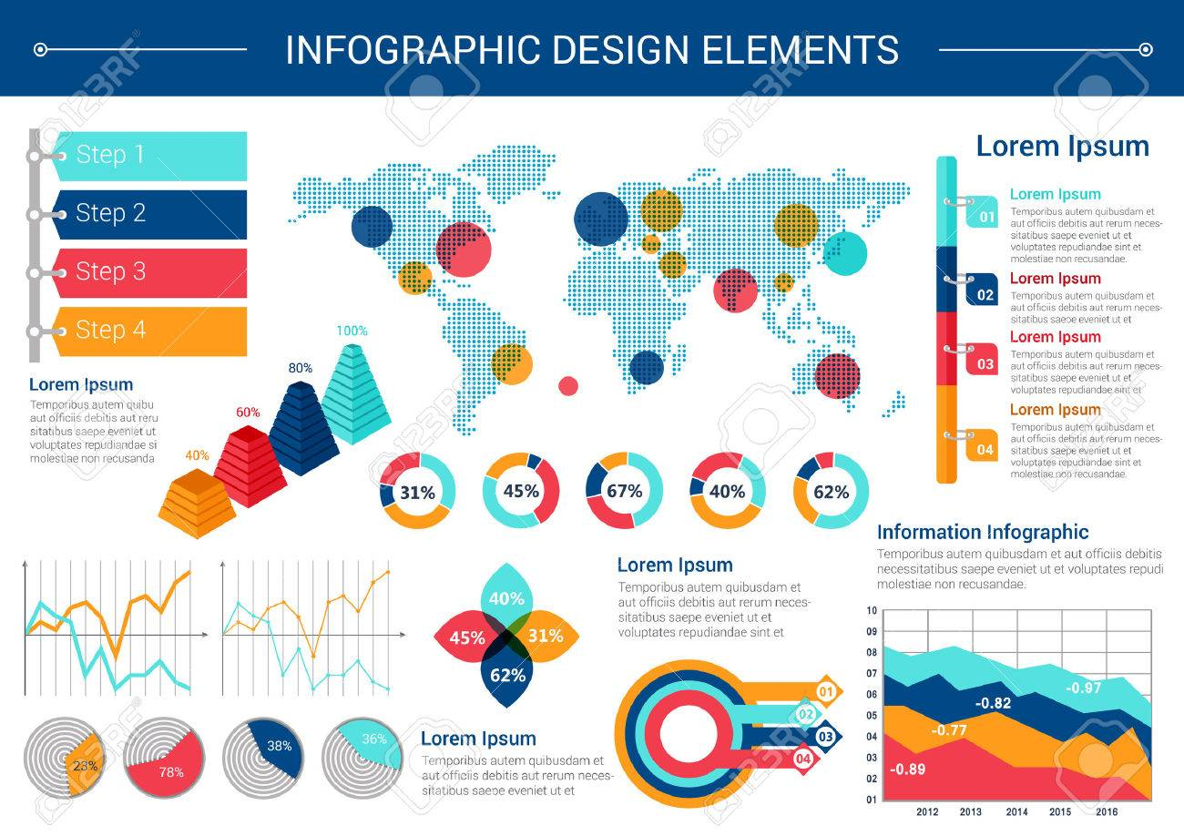 Infographic elements design world map with pointers pie chart infographic elements design world map with pointers pie chart line graph step gumiabroncs Gallery