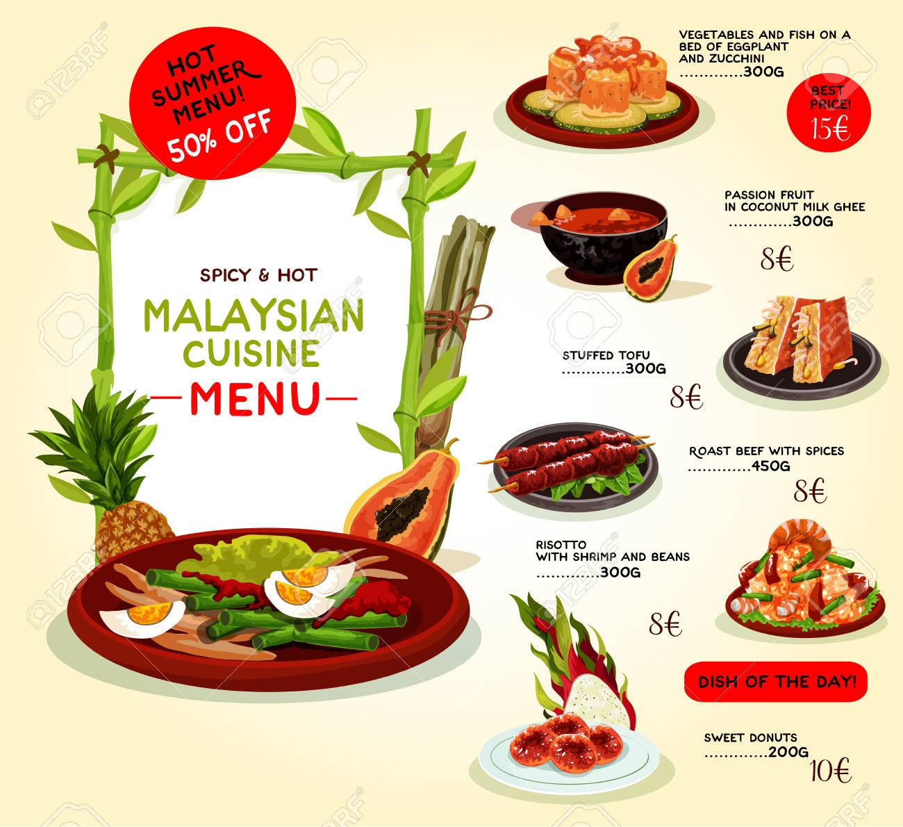 Malaysian Cuisine Restaurant Menu Template Asian Food Special
