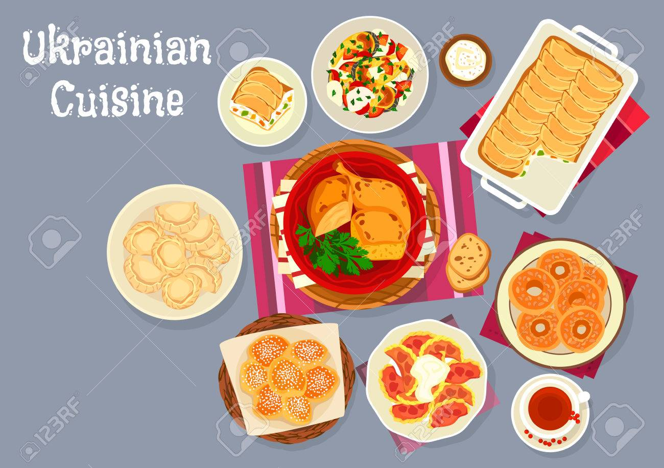 Icones De Cuisine Ukrainienne Clip Art Libres De Droits Vecteurs