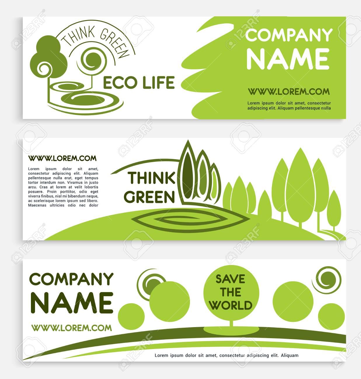 Conjunto De Plantilla De Banner Ecológico Verde Negocio ...