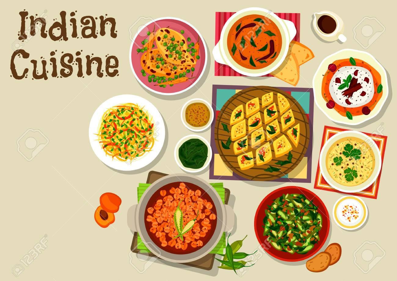 Cuisine Indienne Icone Du Menu Du Diner Avec Curry De Poulet Au