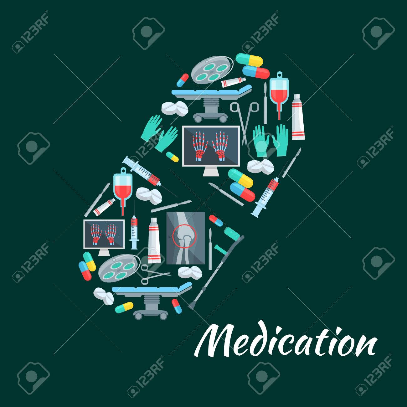 X ray poster design - Medication Poster Of Pill Symbol And Medicine Tools Vector Healthcare Therapy Pills Syringe And