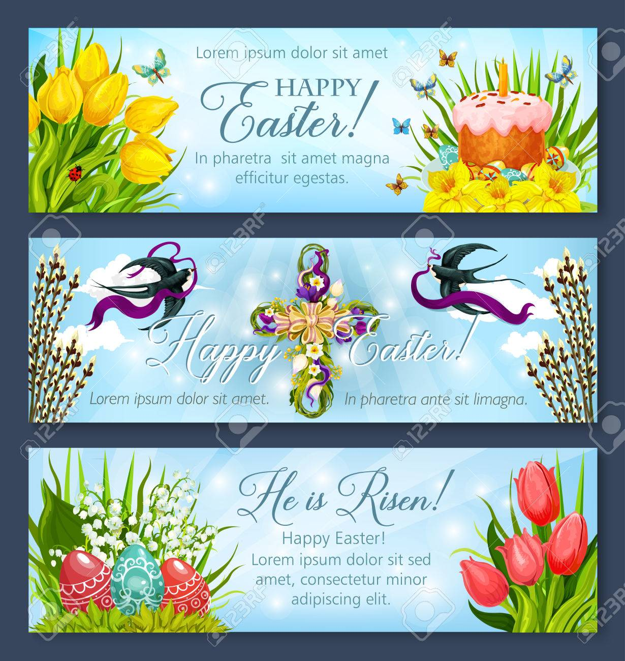 Happy Easter Greetings Banner Template Set Easter Egg And Cake