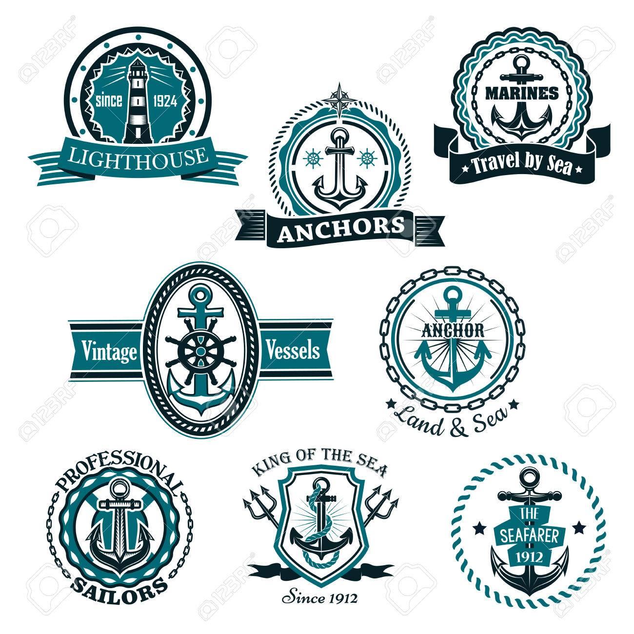 nautical heraldic or marine vector icons emblems and heraldry