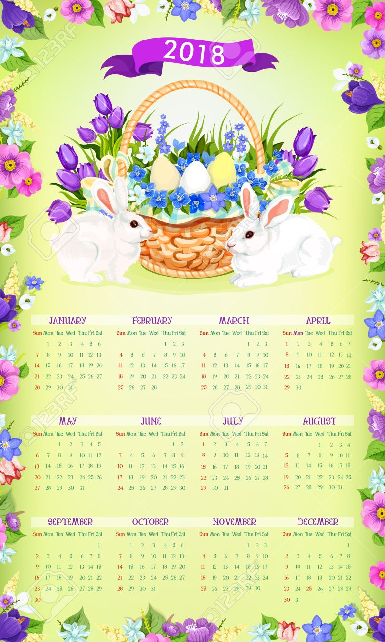 2018 calendar template with easter spring holiday of paschal eggs and bunny in flowers bouquet bunch
