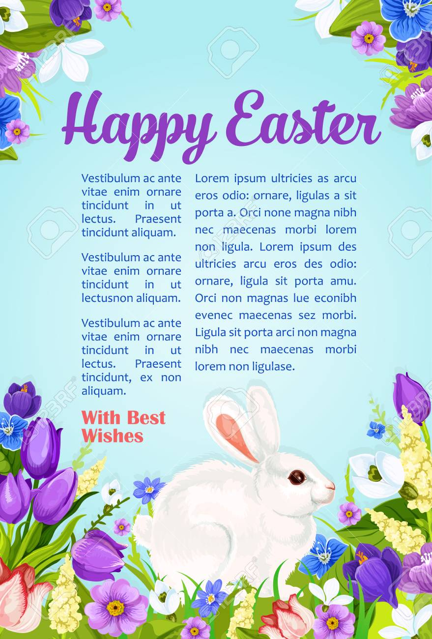 Happy Easter Poster With Wishes And Greetings Template Paschal