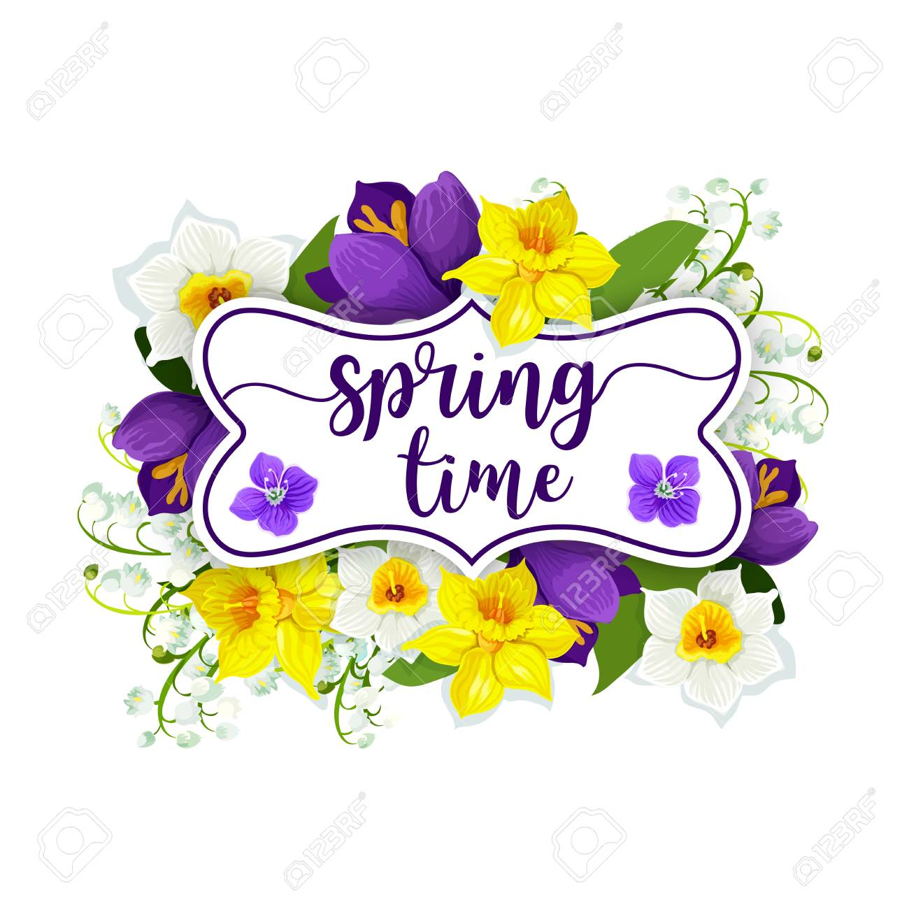 hello spring flowers vector floral poster royalty free cliparts rh 123rf com spring vector free download spring vector png