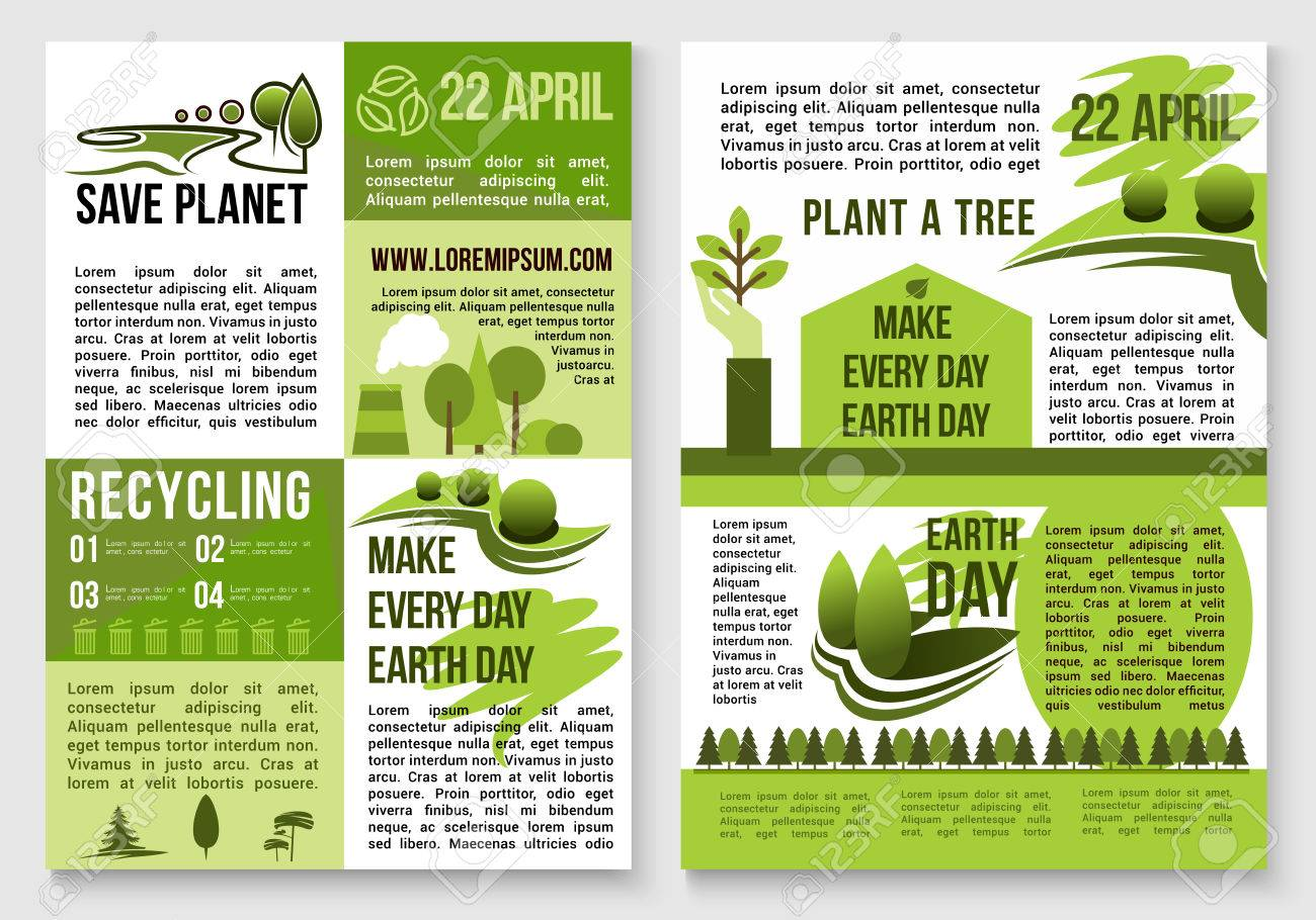 Save Earth Posters Design On Recycling And Environment Conservation Concept For Day Global Event