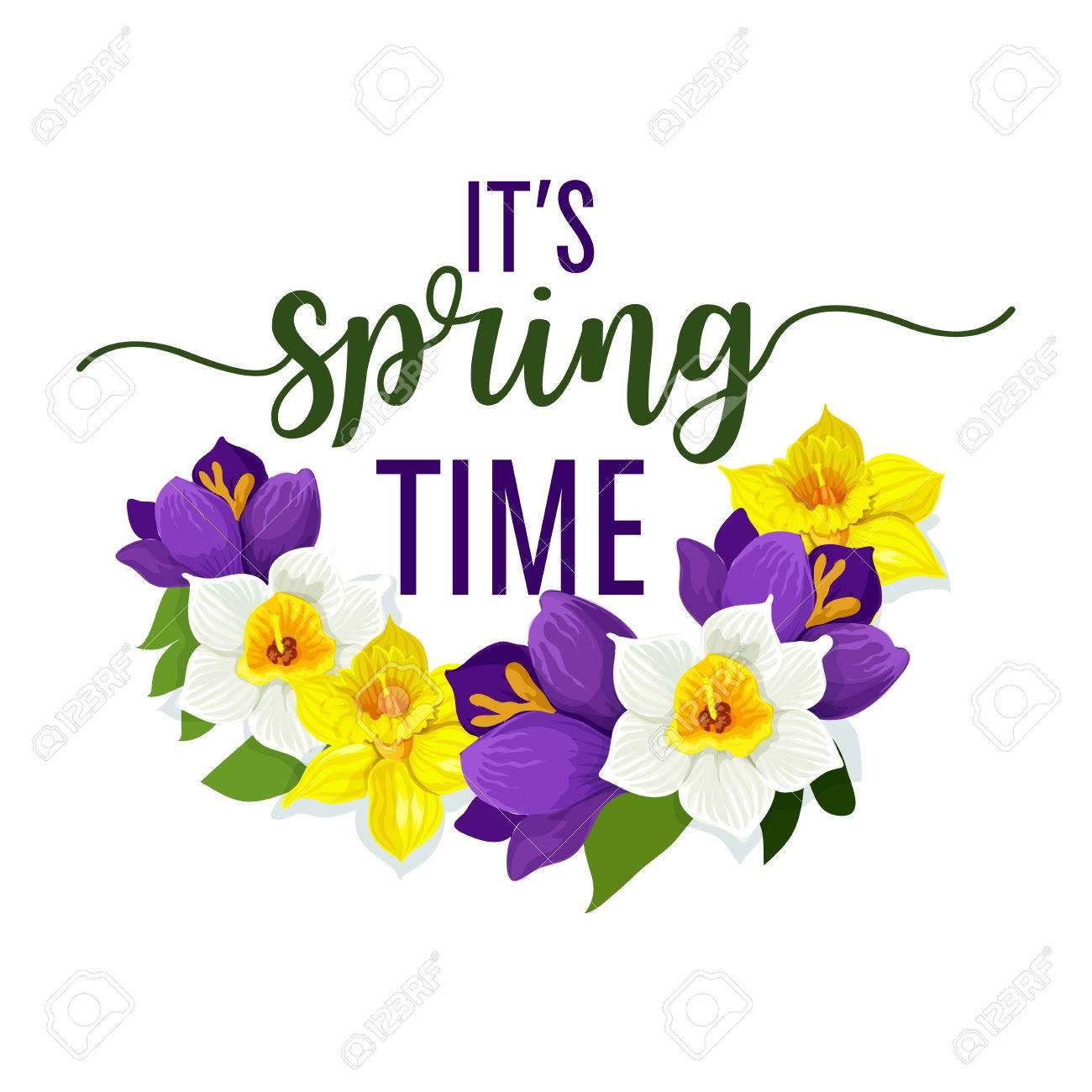 Spring time flower bouquet design of yellow daffodils and blue spring time flower bouquet design of yellow daffodils and blue crocus or narcissus wreath vector izmirmasajfo