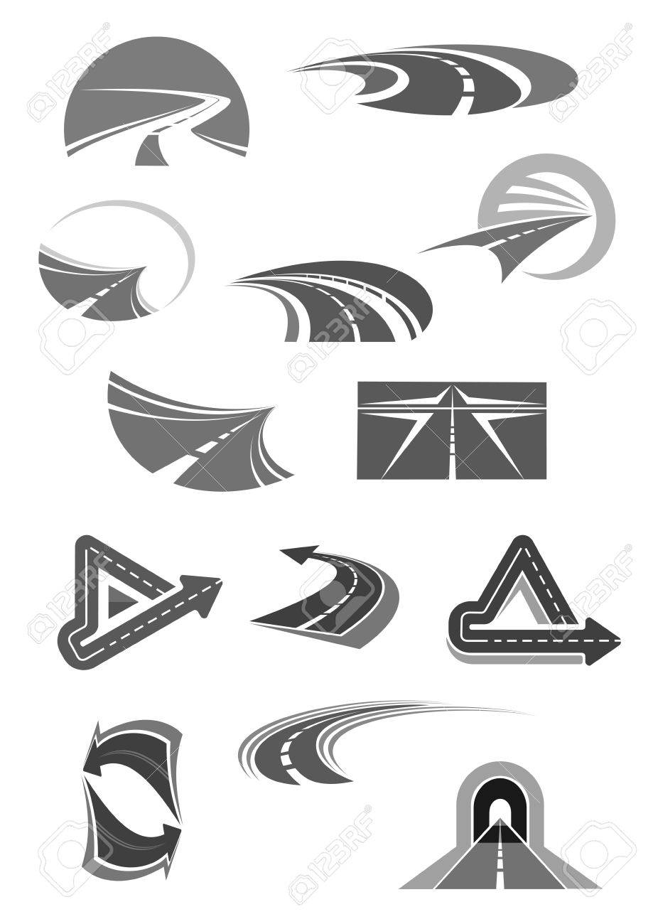 Road Vector Icons Of Travel Construction Company Stock