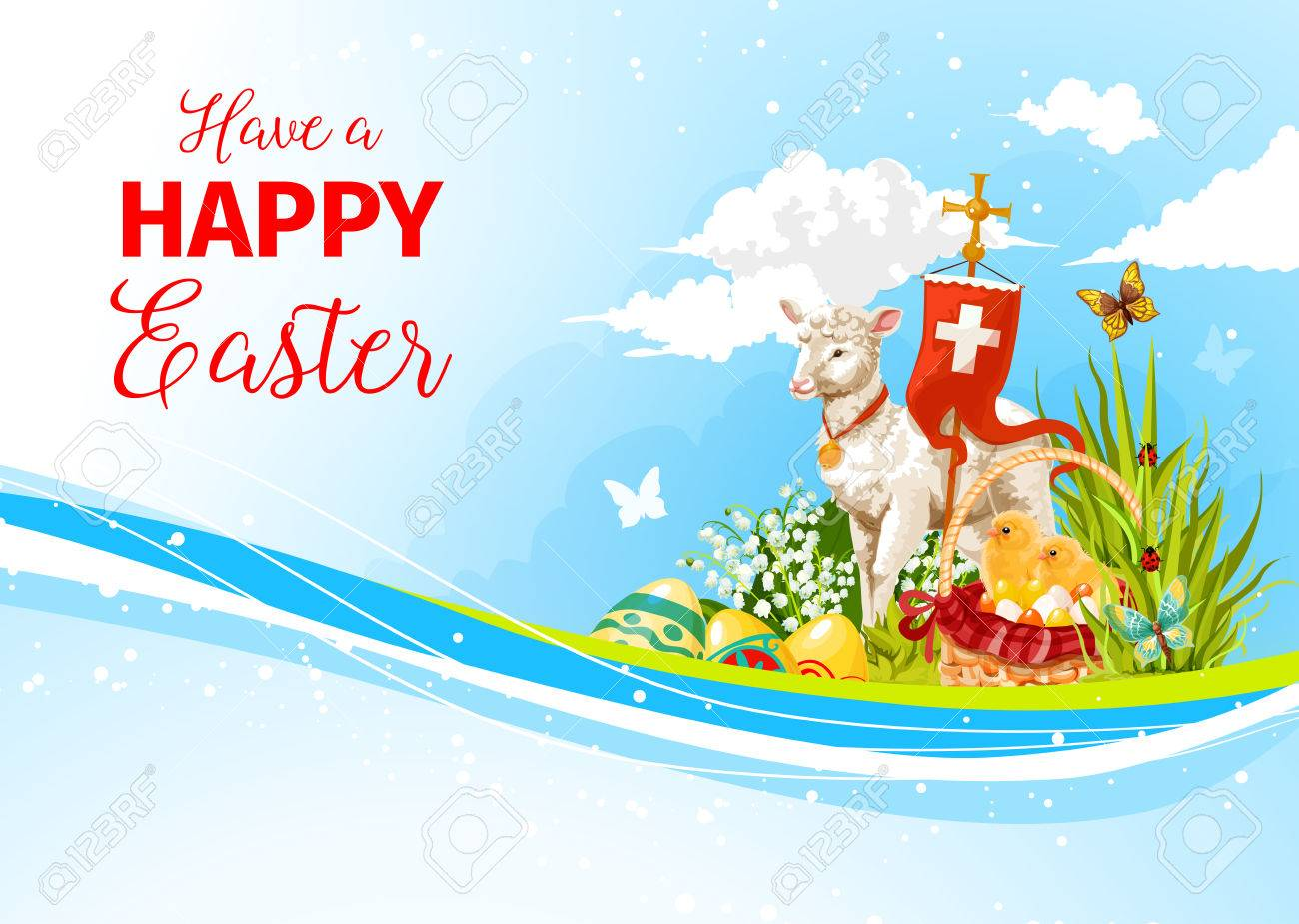 Easter greeting paschal passover lamb vector card royalty free easter greeting paschal passover lamb vector card stock vector 74733682 m4hsunfo
