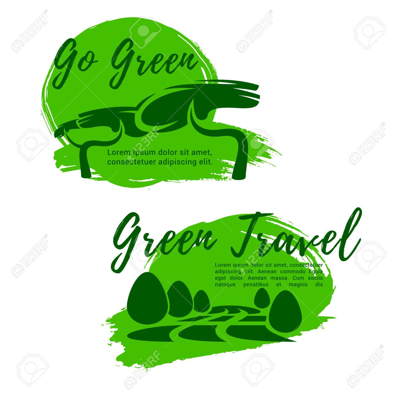 Ecotourism And Go Green Symbol For Travel Design Royalty Free