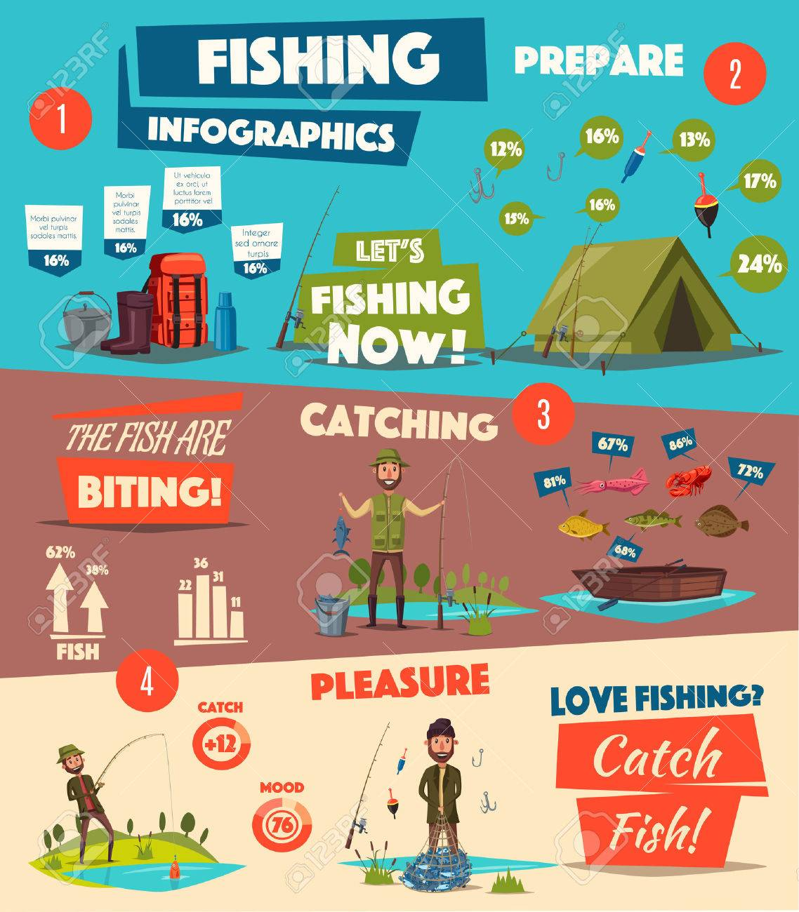 Fishing sport and camping infographic design Foto de archivo - 74733905