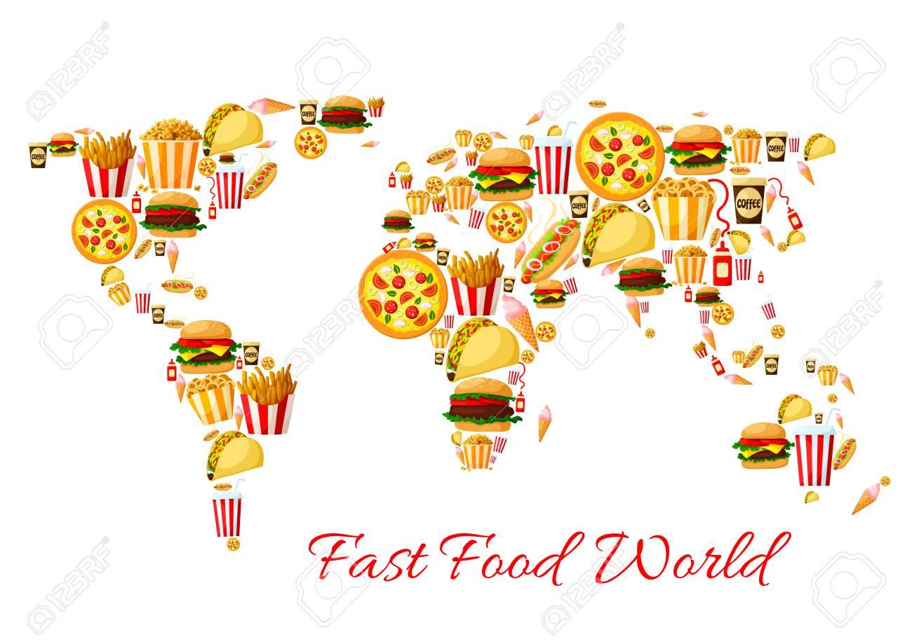 fast food world map cartoon poster design stock vector 74733906