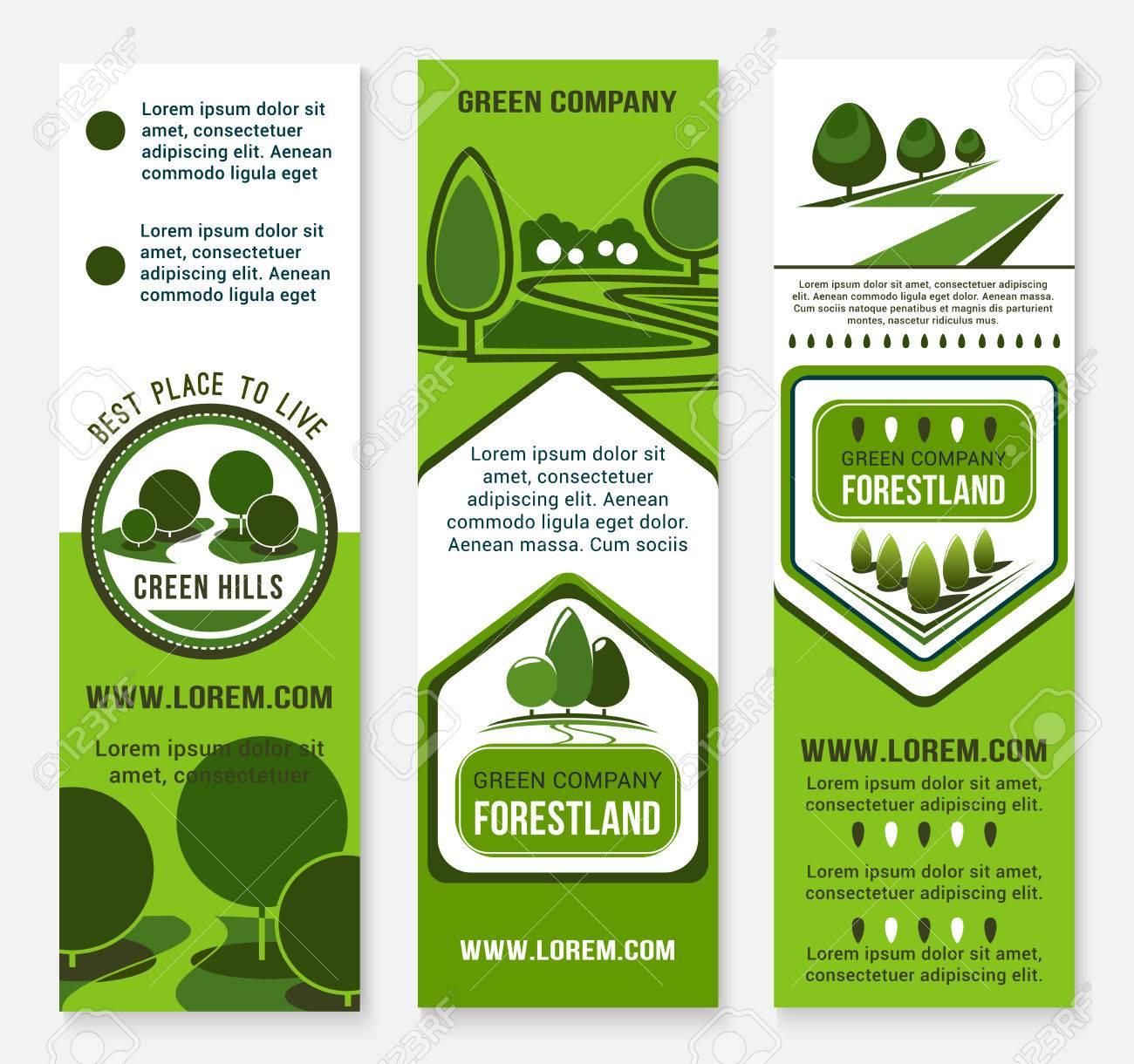 Eco Verde Plantilla De La Bandera De Negocios Con El árbol ...