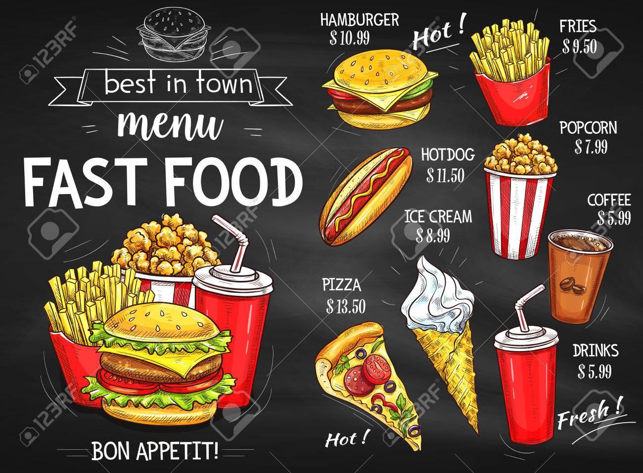 Fast food restaurant menu chalkboard design - 75310109