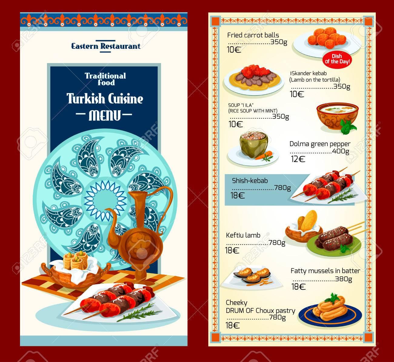Cocina Turca Restaurante Menú Plantilla Diseño Ilustraciones ...