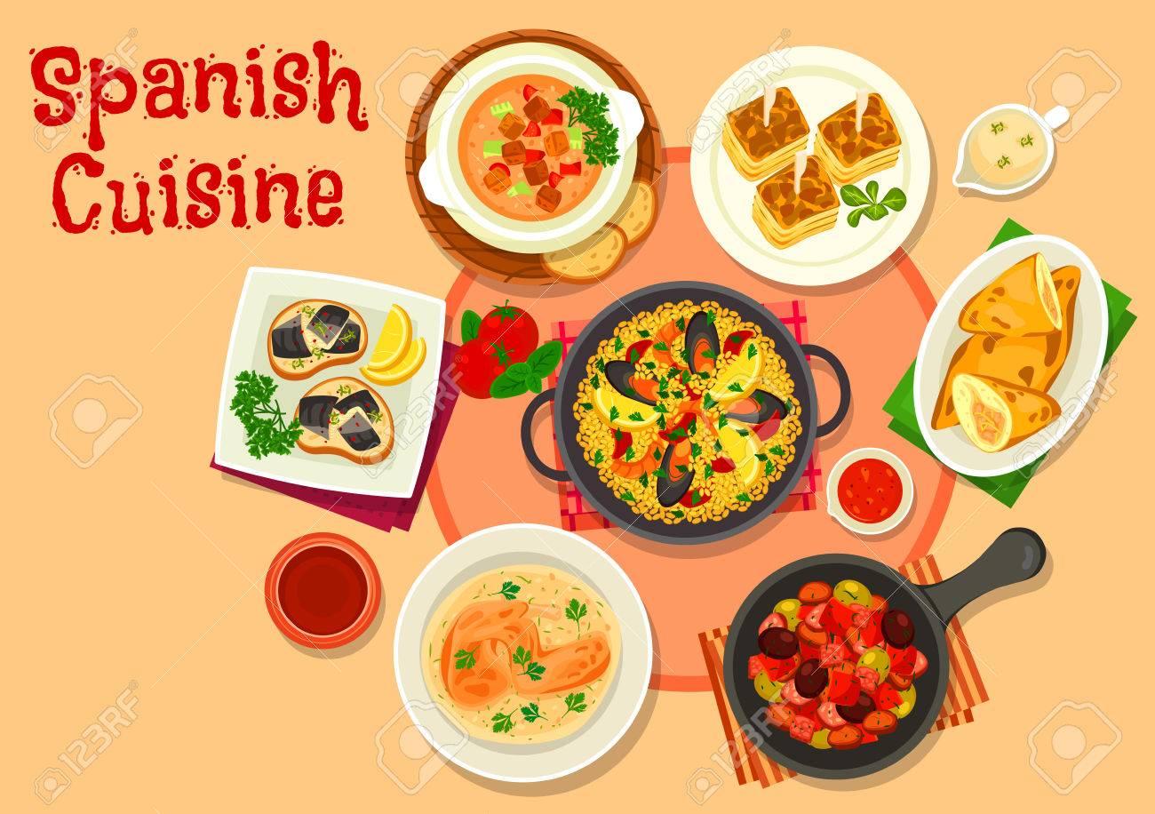 Cocina Española Cocina Sana Platos Icono Ilustraciones Vectoriales ...