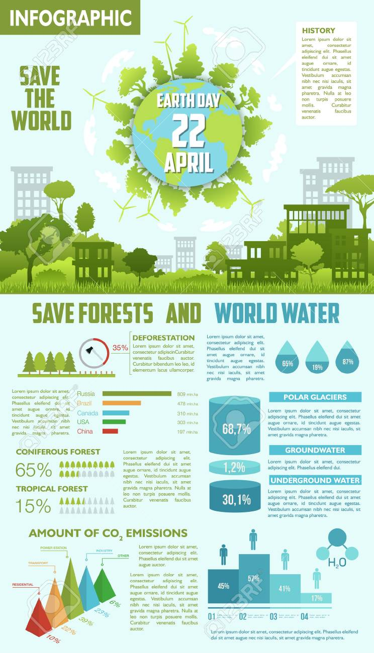 save forest and water ecological infographics royalty free cliparts