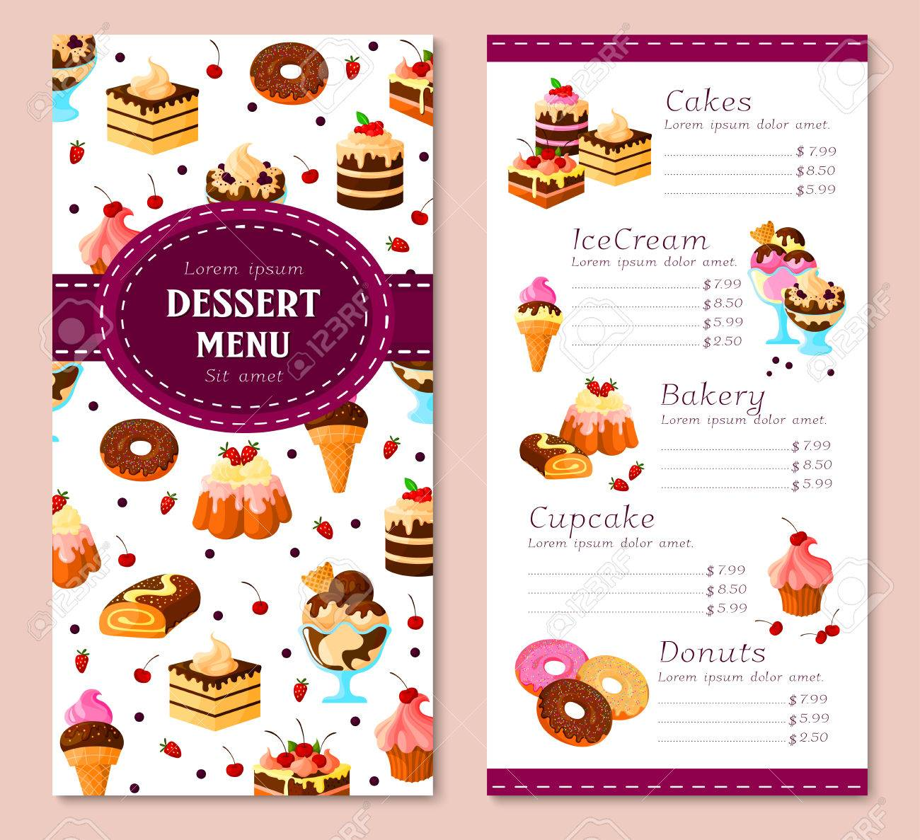 vector menu template for bakery desserts cakes royalty free cliparts