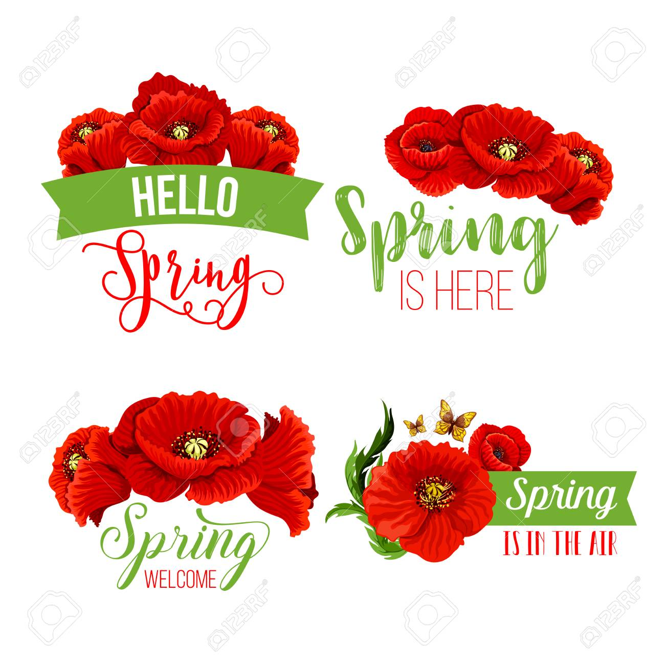 Vector spring time greeting quotes poppy flowers royalty free vector vector spring time greeting quotes poppy flowers mightylinksfo