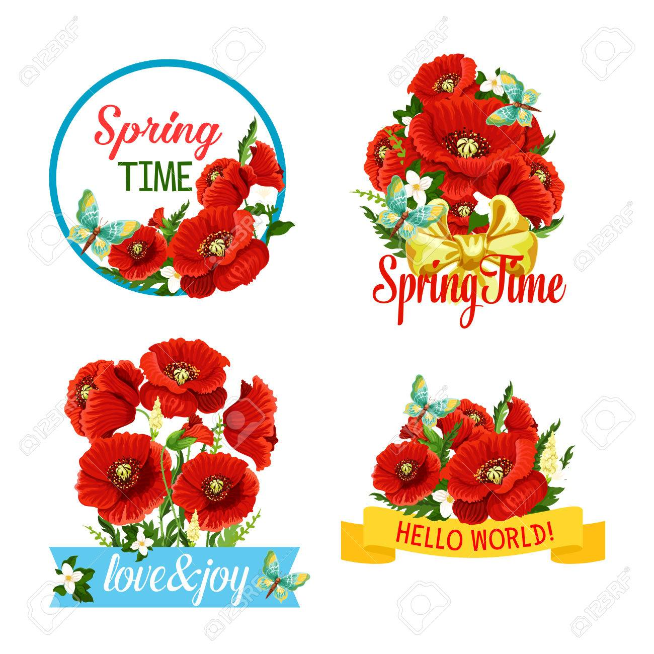 Vector icons of flowers and spring time quotes royalty free cliparts vector vector icons of flowers and spring time quotes mightylinksfo