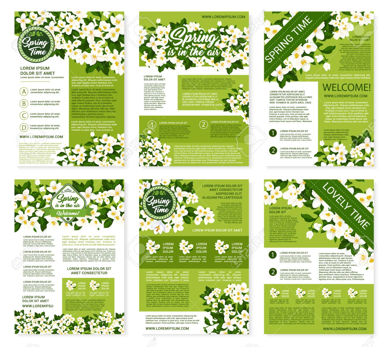Brochures Templates | Springtime Greetings Design On Vector Posters Or Brochures Templates