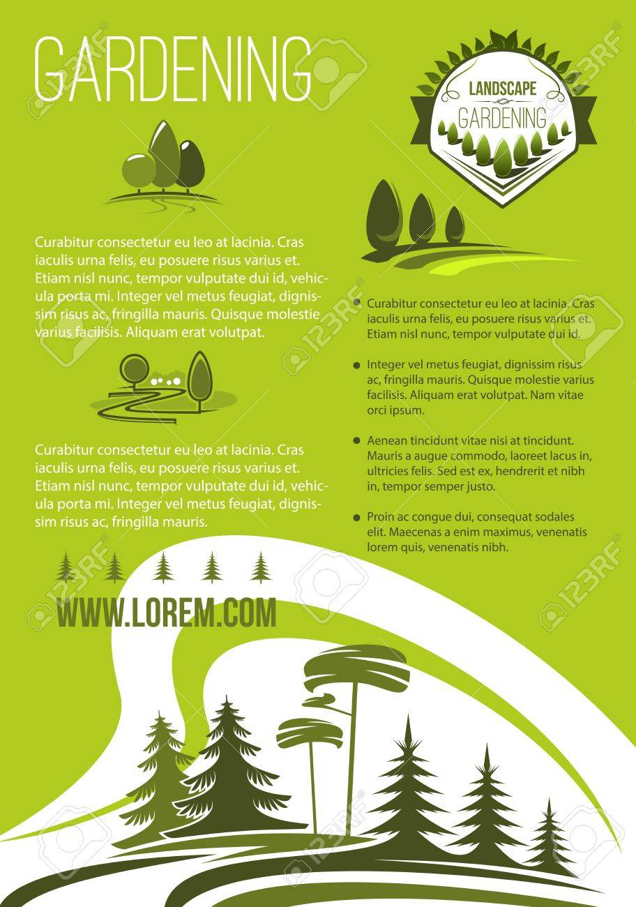 Cartel De Vector De Empresa De Paisaje Y Jardinería. Diseño De ...