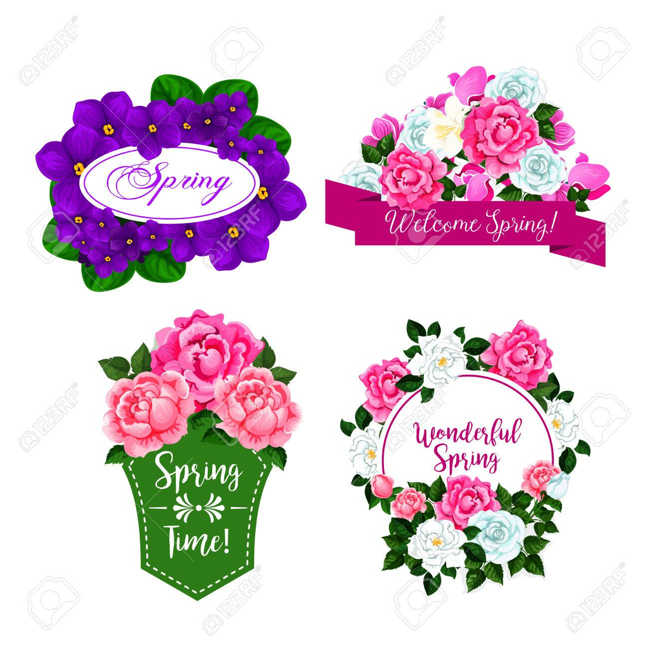 Vector Flowers Bouquets For Spring Greeting Quotes Royalty Free ...