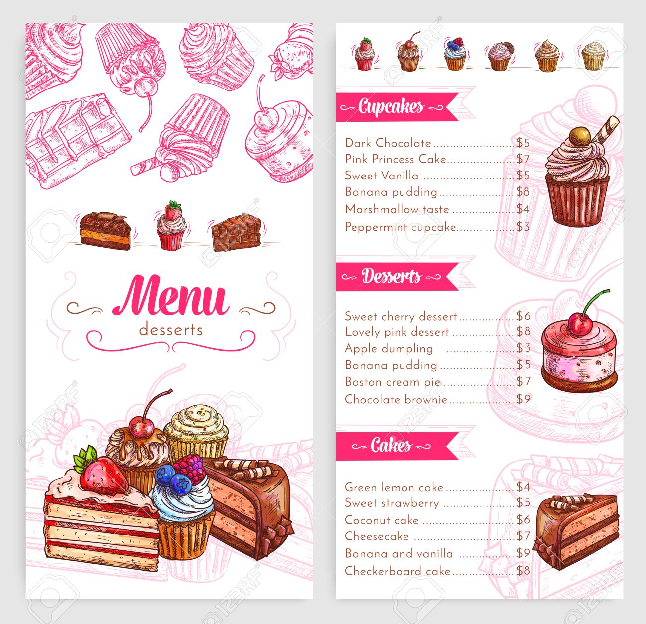 Desserts And Pastry Vector Menu Template. Price Design For Sweet Biscuits  And Bakery Cakes Or  Dessert Menu Template
