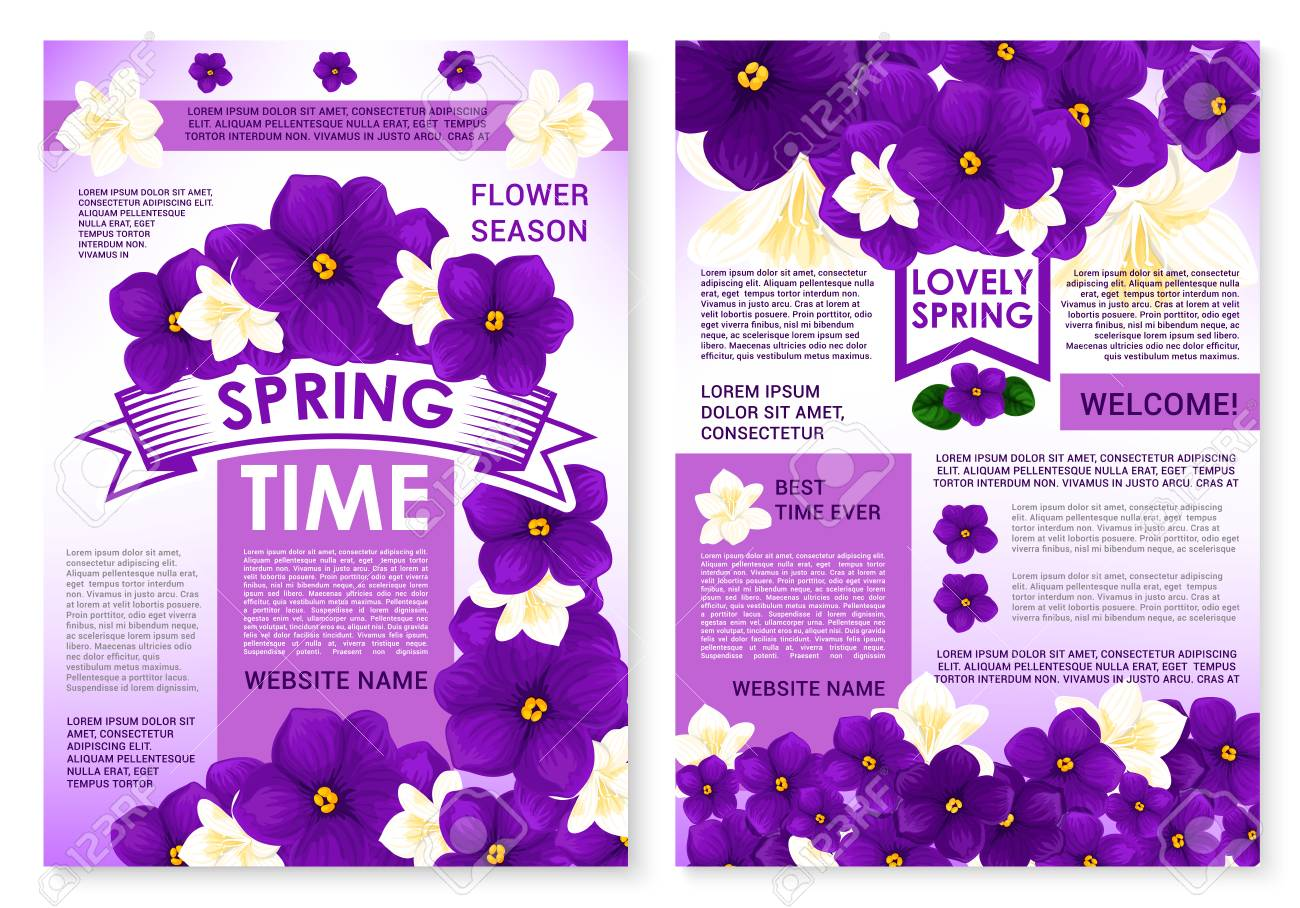 Springtime Seasonal Posters Set With Spring Flowers And Greeting