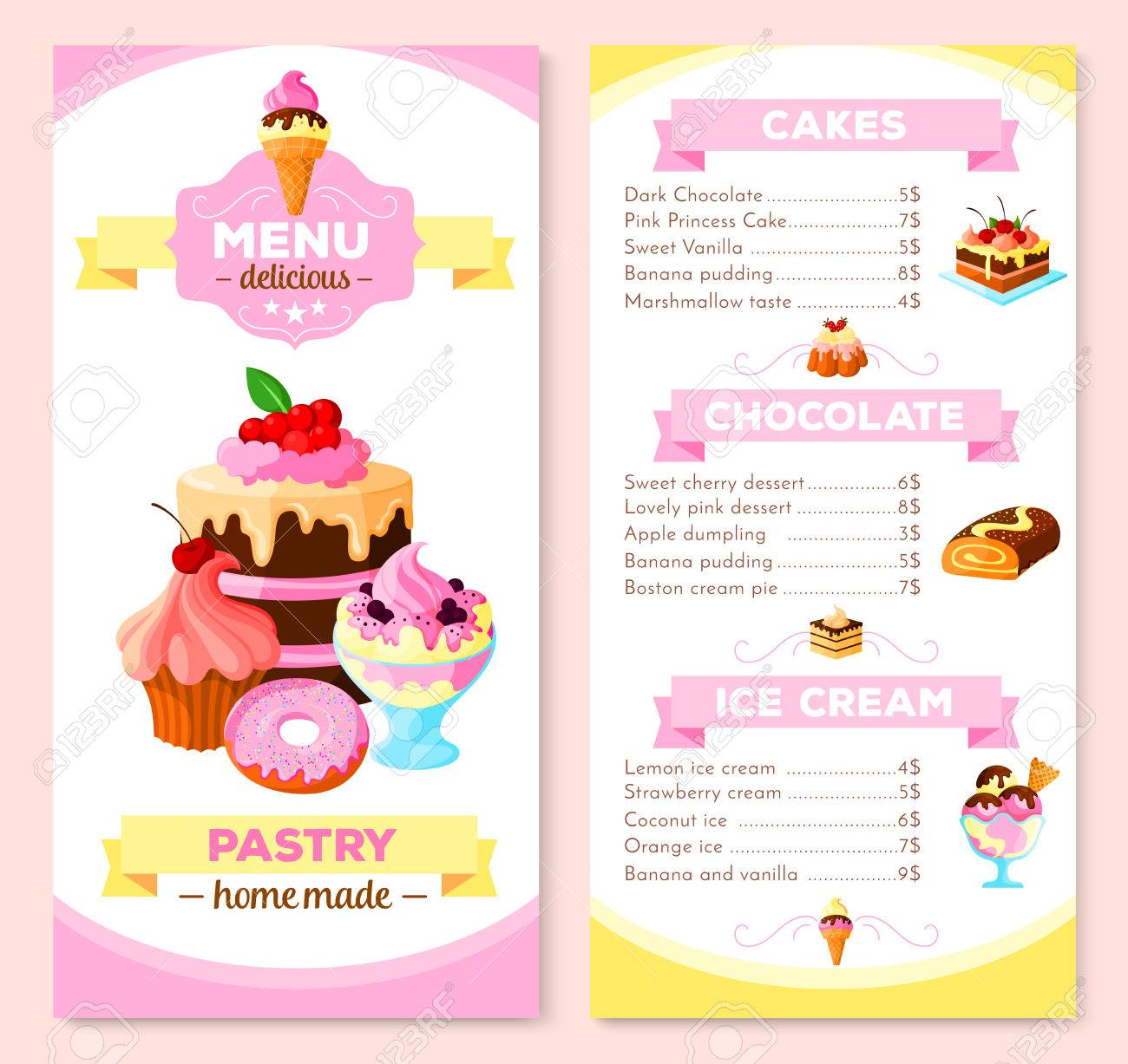 Vector Menu Template For Homemade Pastry Cakes Royalty Free ...